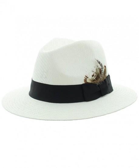 Panama Straw Fedora-White - Black - CA11U87Q00V