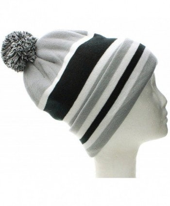 American Cities Boston Winter Beanie Cuff Knit Pom Pom Hat Cap - Fleece Inside - W/Out Letters Gray Black - CY11QK73WRH