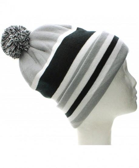 American Cities Boston Winter Beanie Cuff Knit Pom Pom Hat Cap - Fleece Inside - W/Out Letters Gray Black - CY11QK73WRH