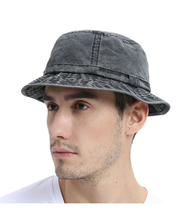 VOBOOM Bucket hat 100% Plain Weave Washed Cotton Packable Travel Retro Style - Black - CR185UDZODQ