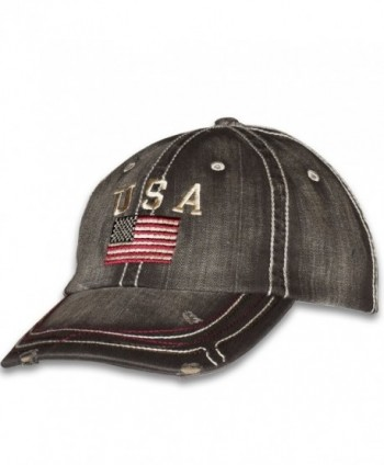USA American Flag Distressed Vintage Patriotic Cap - Black - C21873UOWRY