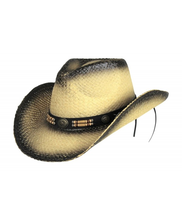 Classic Outback Tea Stained Cowboy Hat w/ Beaded Band - Shapeable Brim - CI17Y7O4KMH