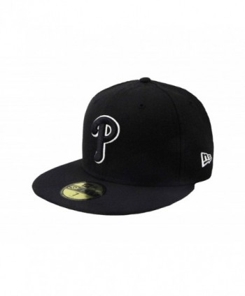 New Era 59Fifty Hat MLB Philadelphia Phillies Black/White Fitted Headwear Cap - C512KQVYCHV