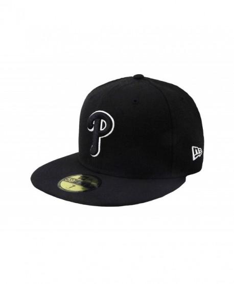 New Era 59Fifty Hat MLB Philadelphia Phillies Black/White Fitted Headwear Cap - C512KQVYCHV