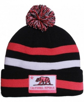 American Cities California Republic Cuff Beanie Knit Pom Pom Hat Cap - - Black Fuschia - CN11IW4JKJF
