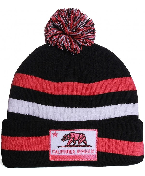 American Cities California Republic Cuff Beanie Knit Pom Pom Hat Cap - - Black Fuschia - CN11IW4JKJF
