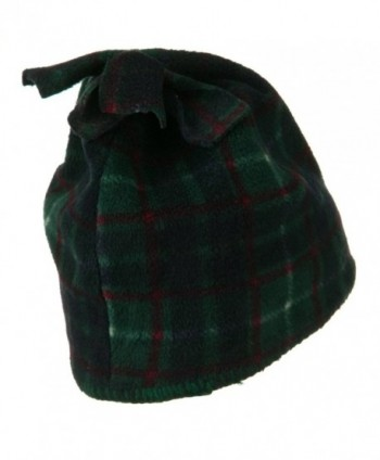 Plaid Design Winter Fleece Hat - Dark Green W15S39A - CV1108HRAWR