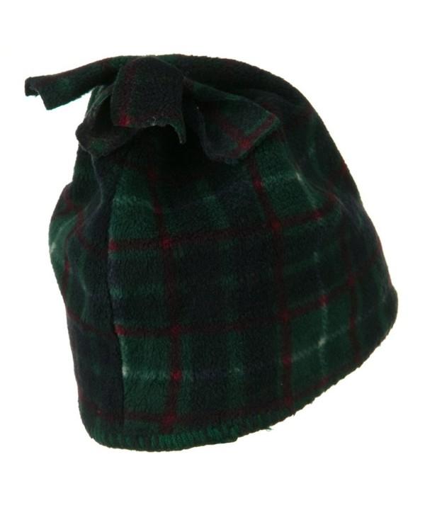 Plaid Design Winter Fleece Hat - Dark Green W15S39A - CV1108HRAWR