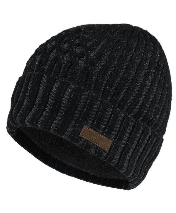 Vmevo Wool Cuffed Beanie Hat Warm Winter Knit Hats Skull Cap with Lining for Men and Women - Black - C61872IN0WZ