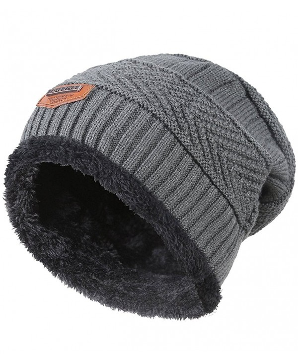 CoKate Beanie Hats Men's Winter Warm Knit Skull Caps with Fleece Lining - Grey - CC188GWSLG3