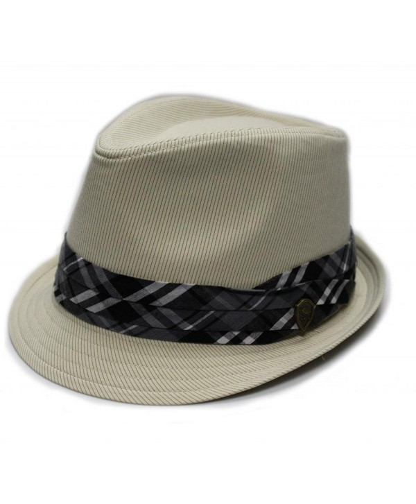 Father's day Gift City Hunter Pmt580 Pin Stripe with Plaid Band Fedora (4 Colors) - Khaki - CR11E3XSJDH