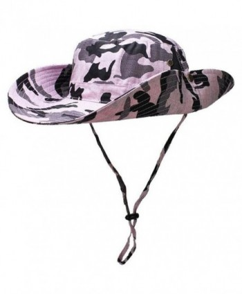 Lanzom Wide Brim Outdoor Sun Cap Camouflage Bucket Mesh Fishing Hat UPF50+ - Pink - CF12ICBCSSR