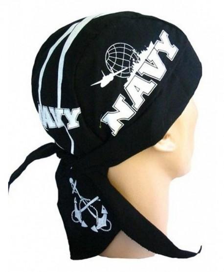 Skull Cap Biker Caps Headwraps Doo Rags - US Navy on Black - C612ELHM0WF