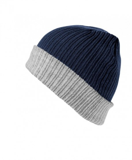 Result Winter Essentials Double Layer Knitted Hat - Navy/Gray - CI12N2WI3CA