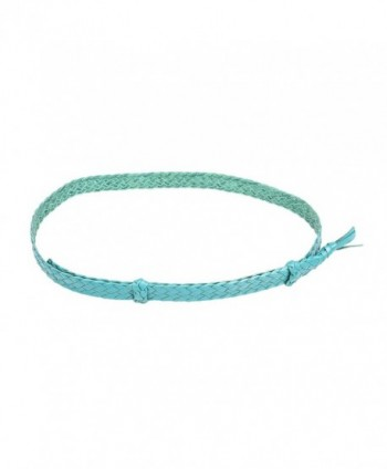Badgery Belts 6 Braid Flat Kangaroo Braided Leather Hat Band - Teal - CM1820XDQZT