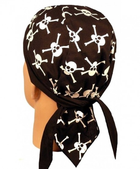 Skull Cap Biker Caps Headwraps Doo Rags - Skull & X Bones GID - C912ELHLRFV