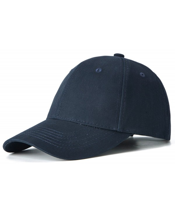 Edoneery Men Women 100% Cotton Adjustable Washed Twill Low Profile Plain Baseball Cap Hat - Navy - CC185GQNE3M