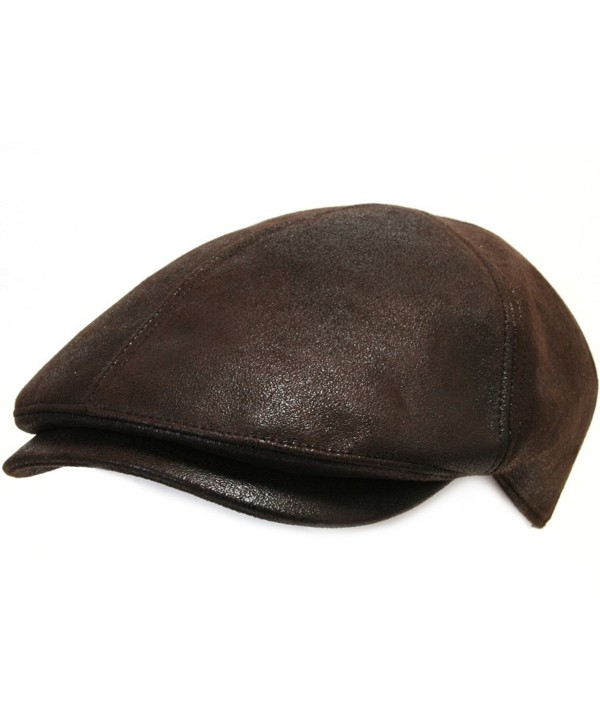 ililily Flat Cap Vintage Cabbie Hat Gatsby Ivy Cap Irish Hunting Newsboy Stretch - Dark Brown - C3119BSJSX9