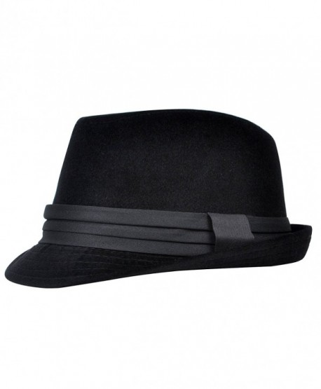 Men's All Season Fashion Wear Fedora Hat - Black - CM12BP1WTRL
