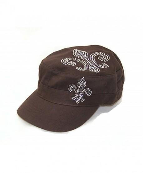 Fleur De Lis Rhinestone Flattop Vintage Brown Visor Hat - CE113IWLKTT