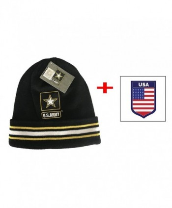 Army United States Logo Beanie Pom Cap Official Merchandise US Military - Black White - CC17XXE07M7