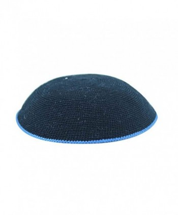 Knitted DMC Kippah Black with Royal Blue Border 16 Centimeters - CS12OD19ONP