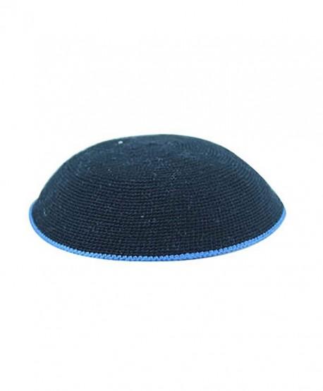 Knitted DMC Kippah Black with Royal Blue Border 16 Centimeters - CS12OD19ONP
