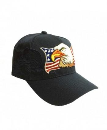 Aesthetinc Patriotic USA American Eagle American Flag Baseball Cap Embroidered - Navy Blue - C211WDGCQ85