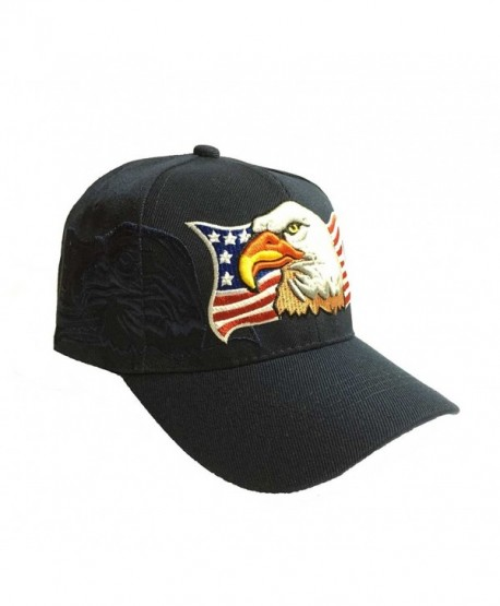 Aesthetinc Patriotic USA American Eagle American Flag Baseball Cap Embroidered - Navy Blue - C211WDGCQ85