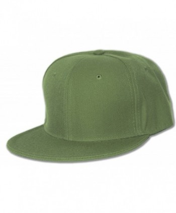 Blank Flat Bill Baseball Hat - Olive - CV112BY30XT