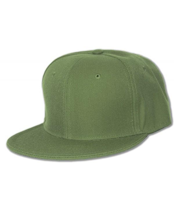 Blank Flat Bill Baseball Hat - Olive - CV112BY30XT