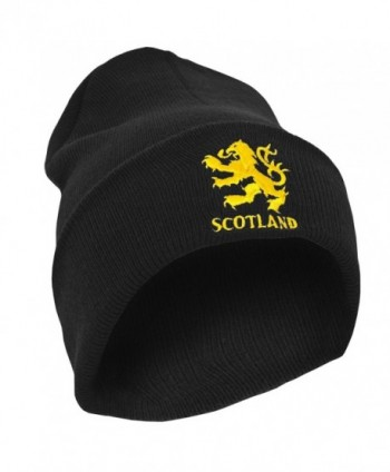 Mens Scotland Lion Design Embroidered Winter Beanie Hat - Black - CG116JKUO03