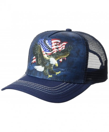 The Mountain Men's Patriotic Assorted Animals Flag Trucker Hat - Blue Eagle - CI184524KK6