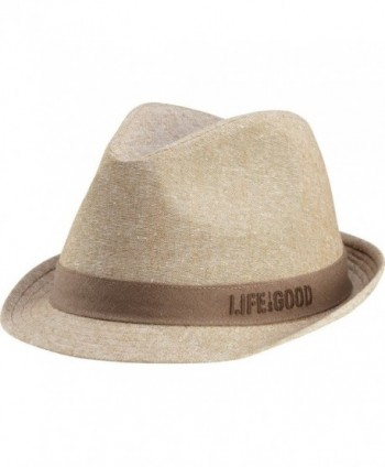 Life is good Men's Linen Fedora - Khaki - CX11IZJPI2P