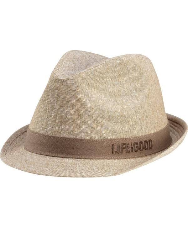 Life is good Men's Linen Fedora - Khaki - CX11IZJPI2P