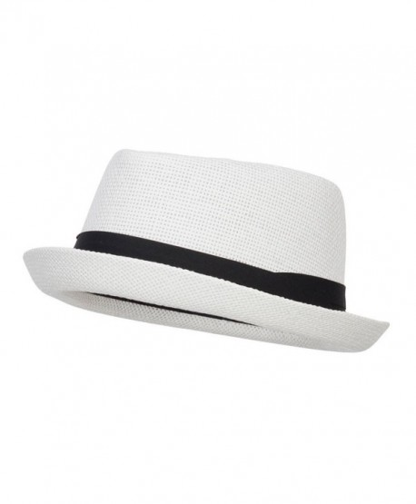 Solid Upbrim Pork Pie Fedora - White - C112ENSCMVL