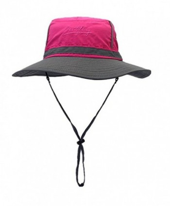 Lanzom Fashion Summer Outdoor Colorblock Sun Hats Boonie Bucket Fishing Hats - Rose Red - C612O2A81A8