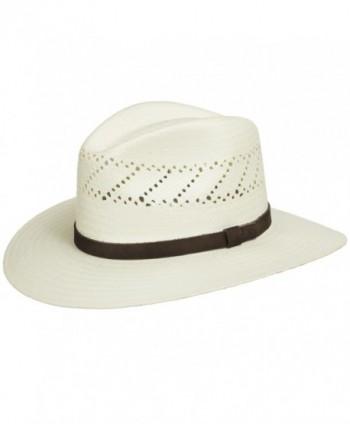 HAVANA Fedora Vented Panama Outback Straw Hat Ultrafino - Natural - C411LIH98FJ