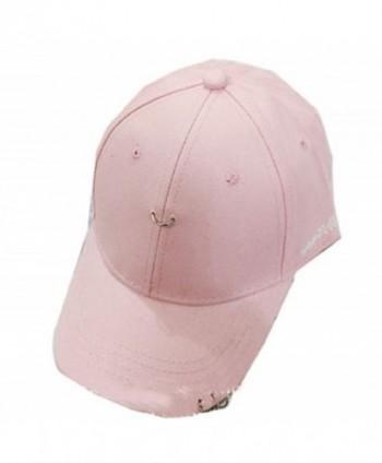 YABINA Unisex Silver Ring Piercing Rock Cotton Baseball Hat Truckers - Pink - CD12JKZJJKT