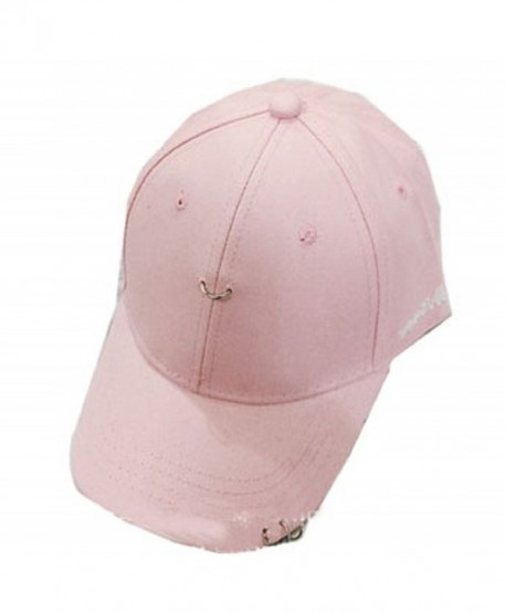 YABINA Unisex Silver Ring Piercing Rock Cotton Baseball Hat Truckers - Pink - CD12JKZJJKT