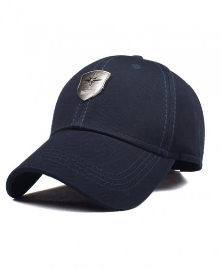 CACUSS Men's Sailing Style Cotton Structured Baseball Cap Adjustable Buckle Closure Sports Golf Hat - B0083_navy - C317YD23MQE