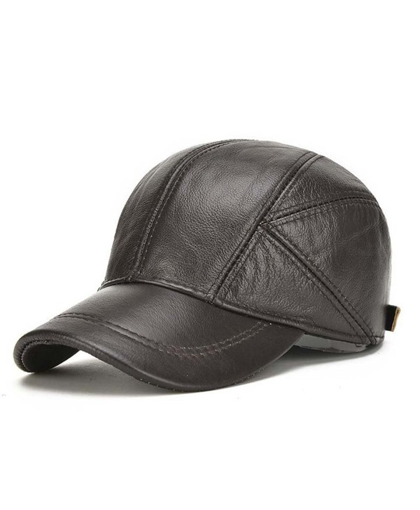 acdiac Men Cowhide Hat Winter Warm Outdoor Protect Ear Real Leather Adjustable Baseball Cap - Black - C9186DQMEH4