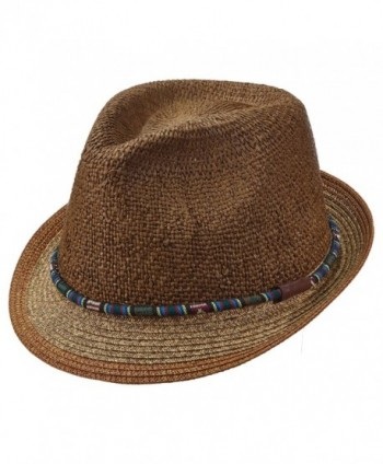 Santana Carlos by Carlos- Navajo Band Toyo Straw Pinch Front Tribal Fedora (SAN342) - Brown - CF12O5M5ZGW
