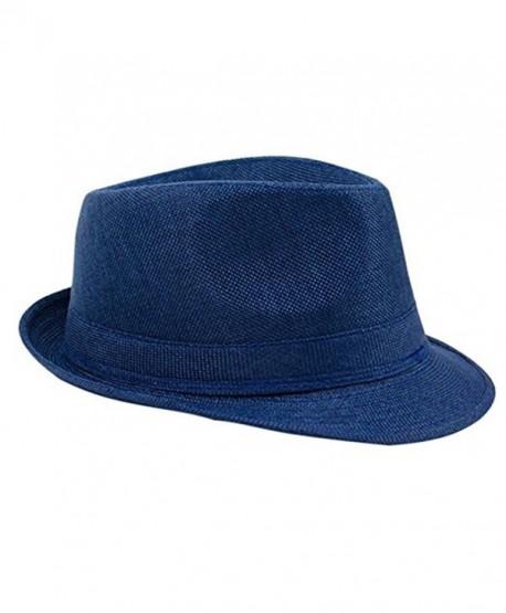 Jytrading Mens Casual Dress Cap Linen Summer Sun Travel Outdoor Beach Hat - Navy Blue - CF182SON6ZU