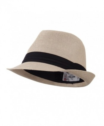 Pleated Hat Band Straw Fedora Hat - Tan W18S37F - C111E8U1PF9