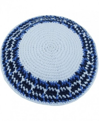 d6c070c3cd3c0 Holy Land Market White Blue Model III- 17cm DMC 100% Knitted Cotton Kippah