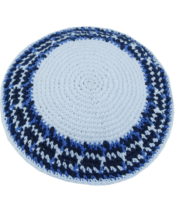 Holy Land Market White/Blue Model III- 17cm DMC 100% Knitted Cotton Kippah Yarmulke skullcap - CP12MZNU4Z3