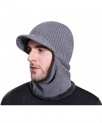HZTG Men's Winter Knitted Warm Cap Full Face Cover Cycling Balaclava Ski Cap With Visor - Grey - CU1280UD8K7