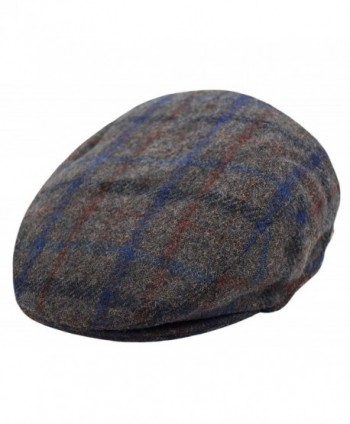 Deewang Classic Men's Flat Hat Wool newsboy Herringbone Tweed Driving Cap - Iv2148-gray Plaid - C4189YIH3IA