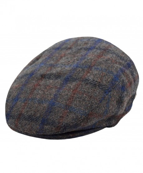 Deewang Classic Men's Flat Hat Wool newsboy Herringbone Tweed Driving Cap - Iv2148-gray Plaid - C4189YIH3IA